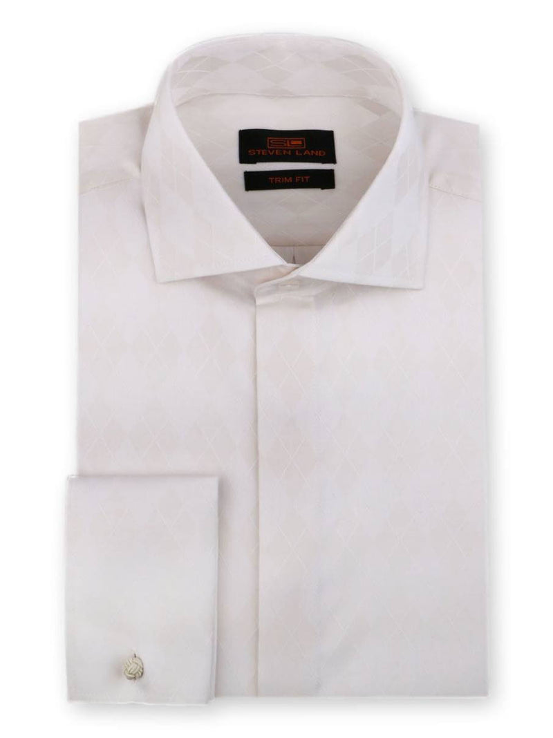 Steven Land Dress Shirt Trim Fit 100% Cotton French Cuff Wide Spread Collar Fly Front Color Cream