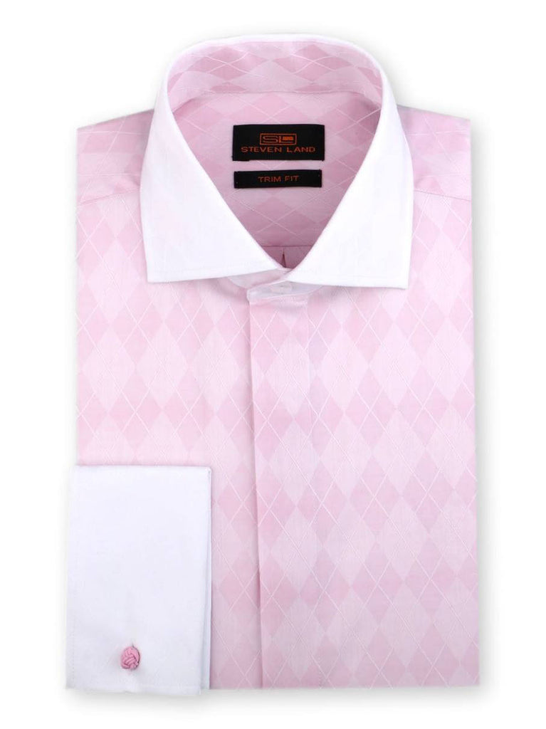 Steven Land Dress Shirt Trim Fit 100% Cotton French Cuff Wide Spread Collar Fly Front Color Pink