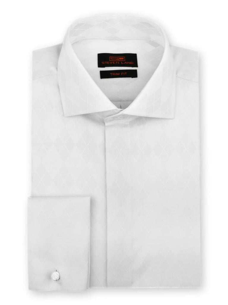 Steven Land Dress Shirt Trim Fit 100% Cotton French Cuff Wide Spread Collar Fly Front Color White