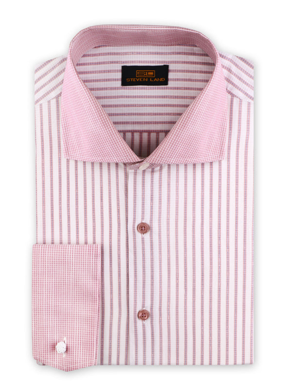 Steven Land | Legacy Stripe Dress Shirt | Color Berry