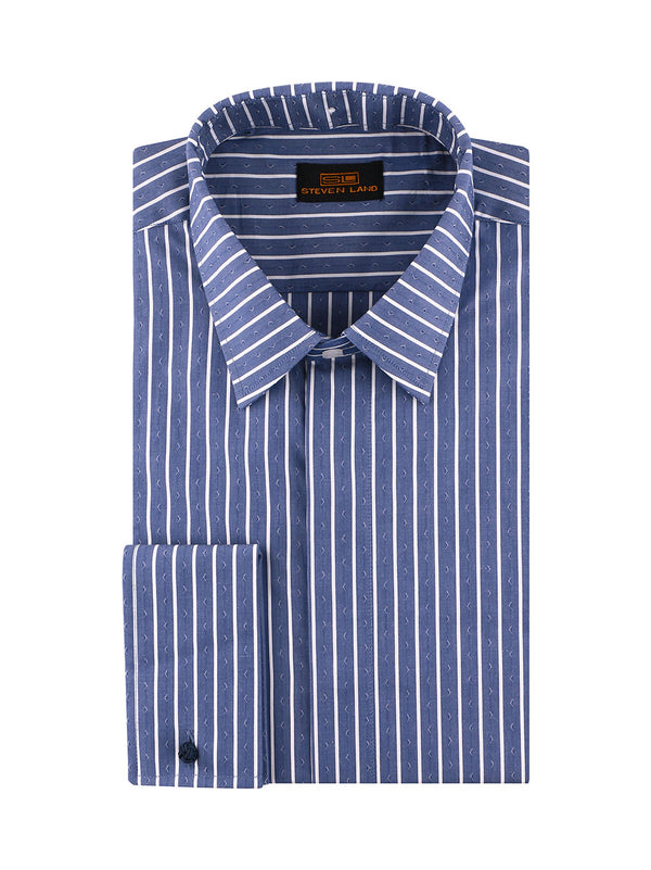 25% OFF | Steven Land | 3 In 1 Dress Shirt | Interchangeable Collars | Color Blue
