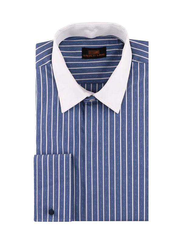 Steven Land | 3 In 1 Dress Shirt | Interchangeable Collars | Color Blue