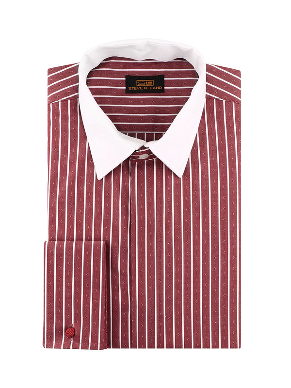 25% OFF | Steven Land | 3 In 1 Dress Shirt | Interchangeable Collars | Color Burgundy