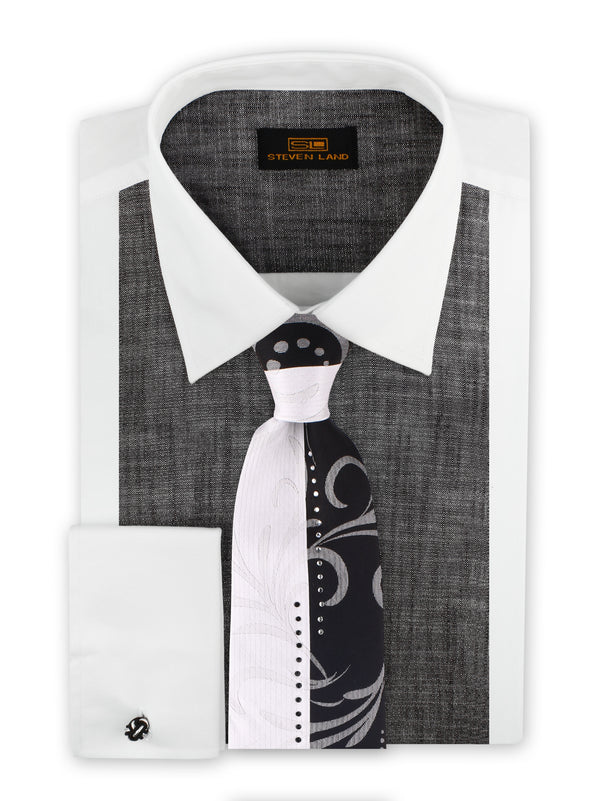 Steven Land | Cotton Lurex Tuxedo Shirt | Color White/Silver
