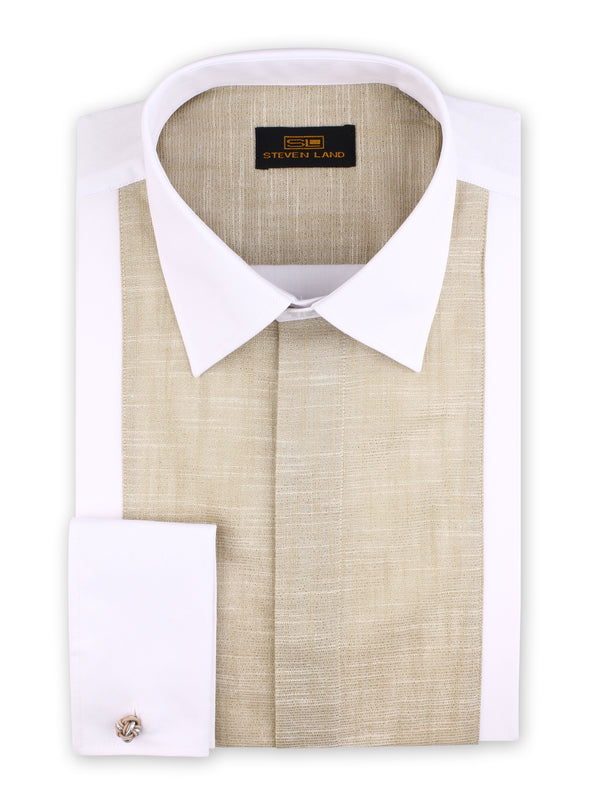 Steven Land | Cotton Lurex Tuxedo Shirt | Champagne