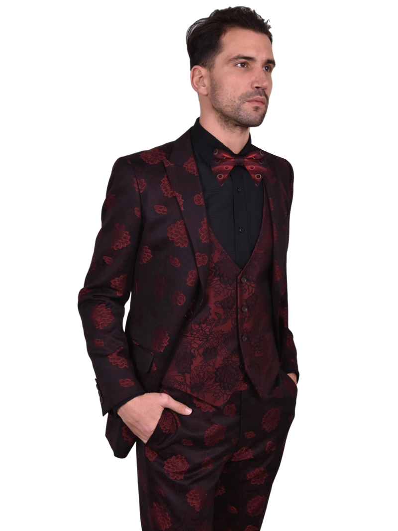 Steven Land | Valentino | 3D Chrysanth Flower 3 Piece Suit | Slim Fit | Red