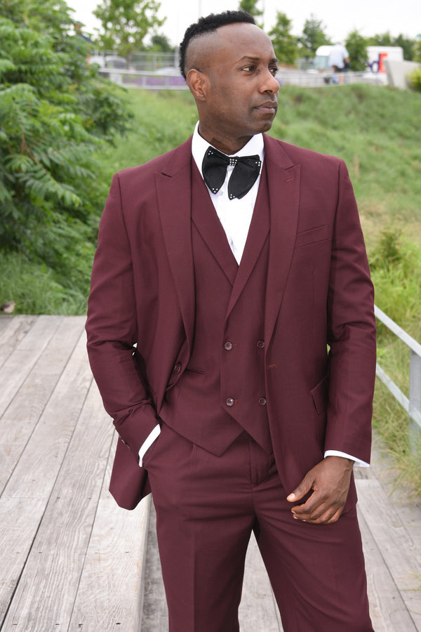 Steven Land | 3 Piece Wool Suit | Walter | Classic Fit | Burgundy