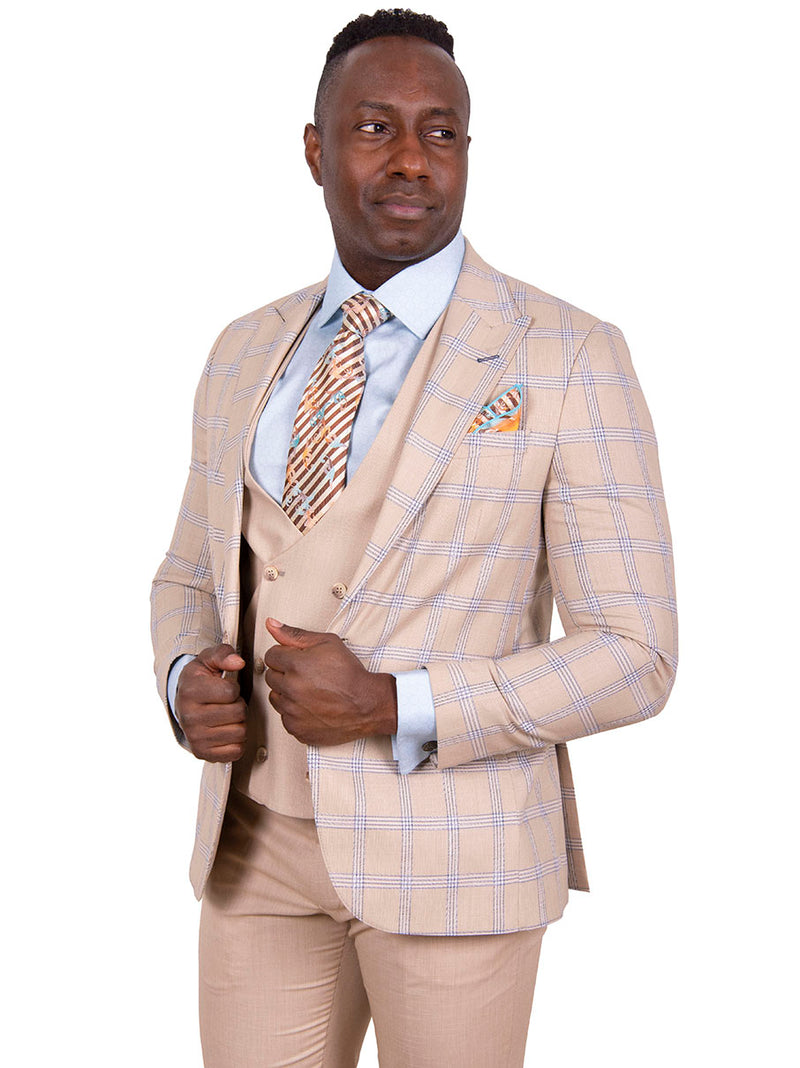 20% OFF | Steven Land | Zeus 3 PC Suit | Classic Fit | Sand