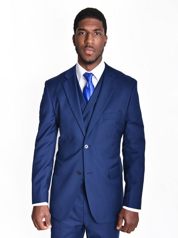 Steven Land | Angelo 3 Piece Wool Suit | Classic Fit | Royal Navy