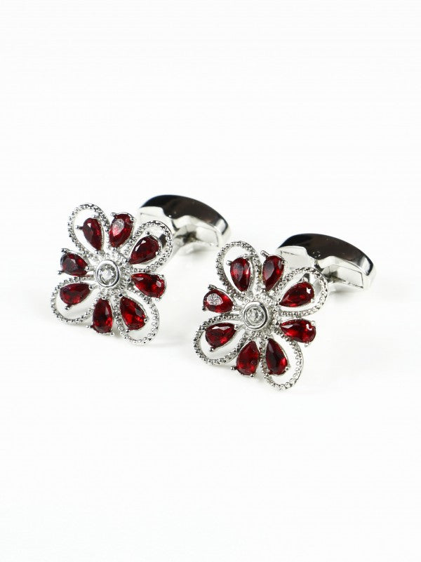 Steven Land Ruby Flower Shaped Cufflink Set in a Box
