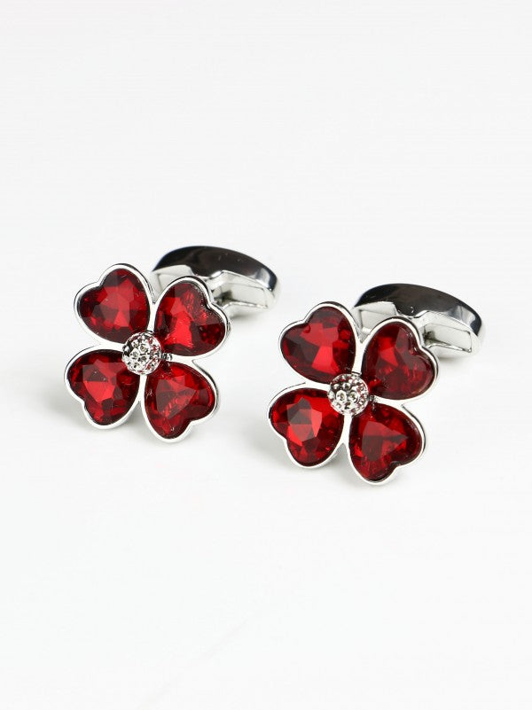 Steven Land Ruby Clover Shaped Cufflink Set in a Box