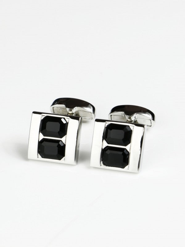 Steven Land Vertically Stacked Black Jewel Cufflink Set in a Box