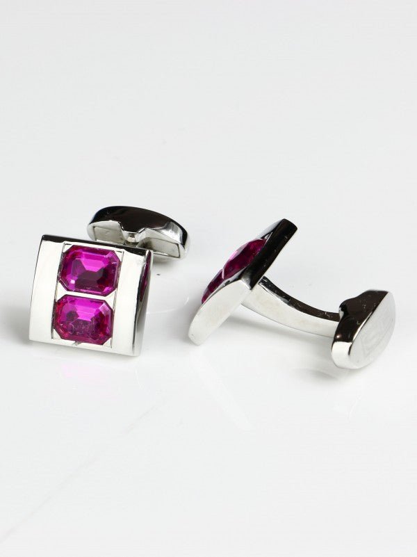 Steven Land Vertically Stacked Magenta/Pink Jewel Cufflink Set in a Box