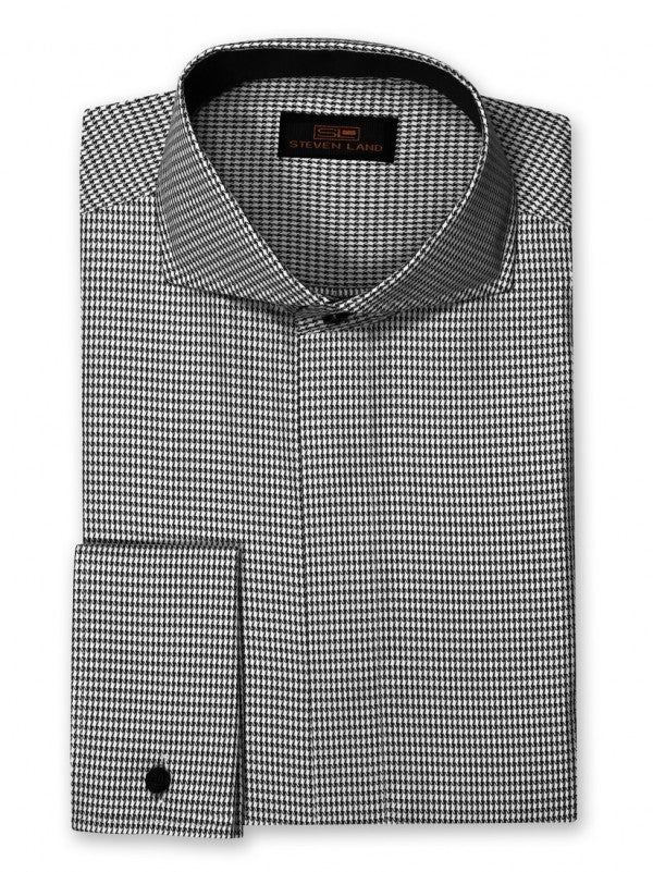 Dress Shirt | DC853 | Trim Fit | Spread Collar | French Cuff | Black/White