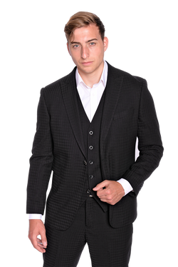Steven Land | Dino 3 PC Suit | Short Sizes Available | Black Gingham