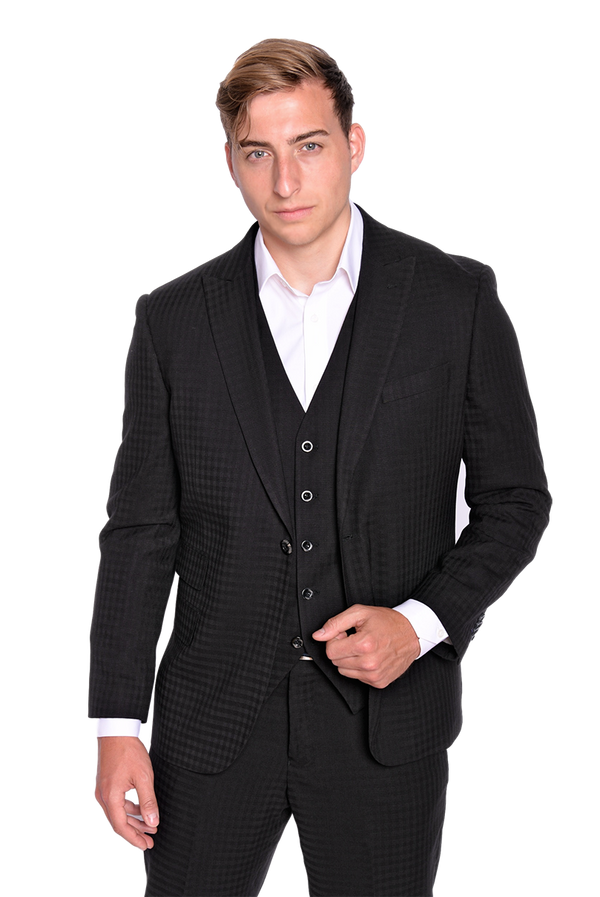 Steven Land | Dino 3 PC Suit | Black Gingham