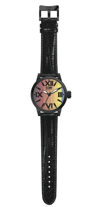 Steven Land Watch | Fashion Collection | Black Leather Strap | Sunset
