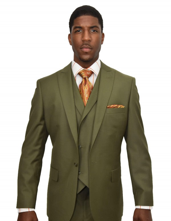 35% OFF | Steven Land | 3 Piece Wool Suit | Walter | Classic Fit | Olive