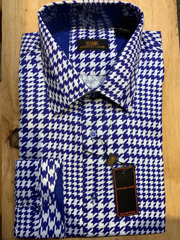 Steven Land | Split Collar Houndstooth Stretch Shirt | Royal Blue