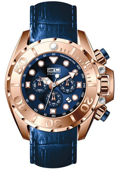 Steven Land Watch | Limited Edition | Dubai Collection | Leather Strap | Blue Royalty