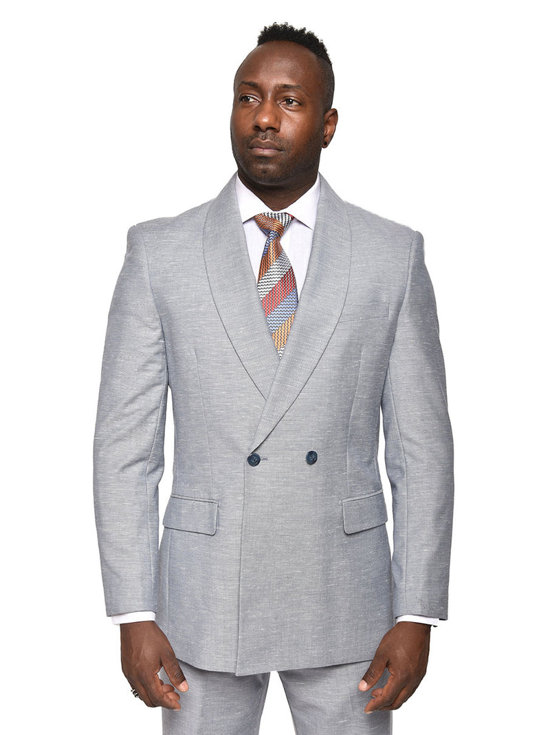 Steven Land | Double Breasted Franco Suit | Heather Blue