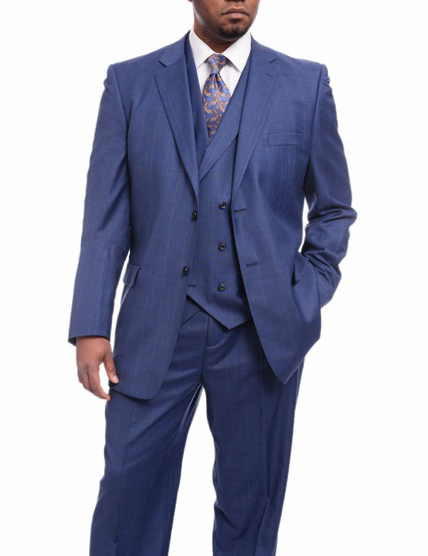 Angelo | Blue Windowpane Plaid 3 Piece Wool Suit | Classic Fit