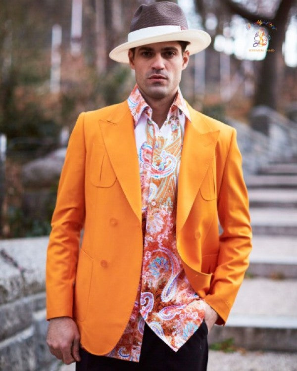 Steven Land | Orange Vittorio Double Breasted Jacket
