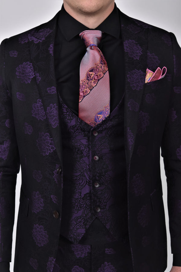 Steven Land | Valentino | 3D Chrysanth Flower 3 Piece Suit | Slim Fit | Purple