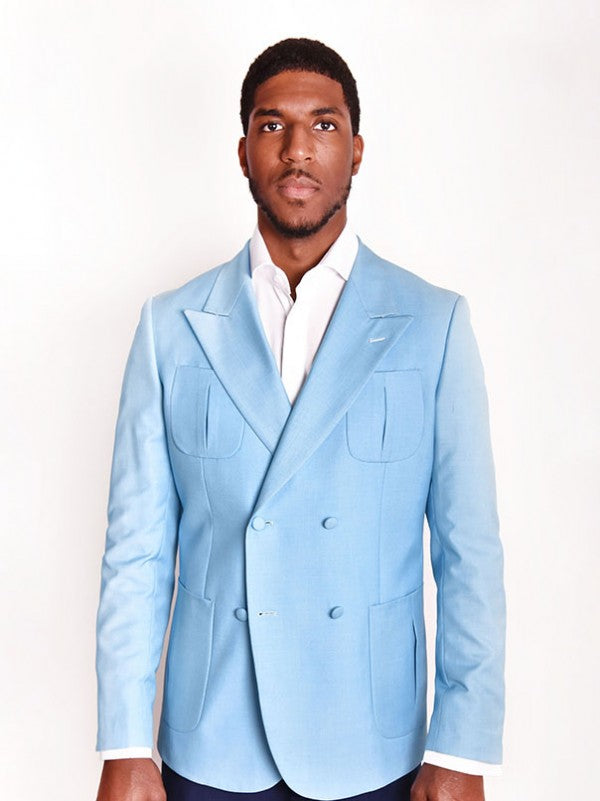 Steven Land | Baby Blue Vittorio Double Breasted Jacket