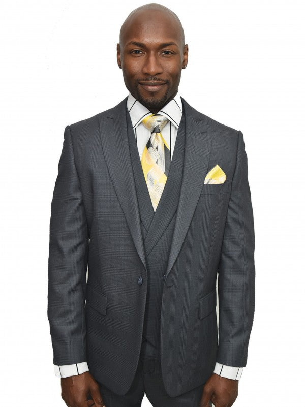 Steven Land 3 Piece Suit Walter SL77-422 1 Pleat Front pants 1 Button Peak lapel with double breasted
