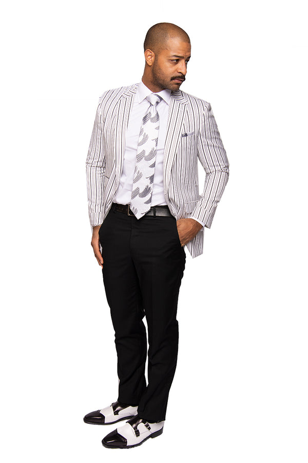 Steven Land | Striped Monochrome | Marino Wool 2 PC Suit