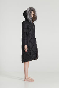 CARLA MAXI / Black & Golden brown Goose Down diamond stitched Winter Coat