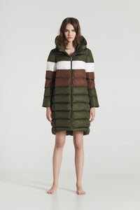 BERGLIN STRIPED / Green Goose Down horizontal stitched Winter Jacket