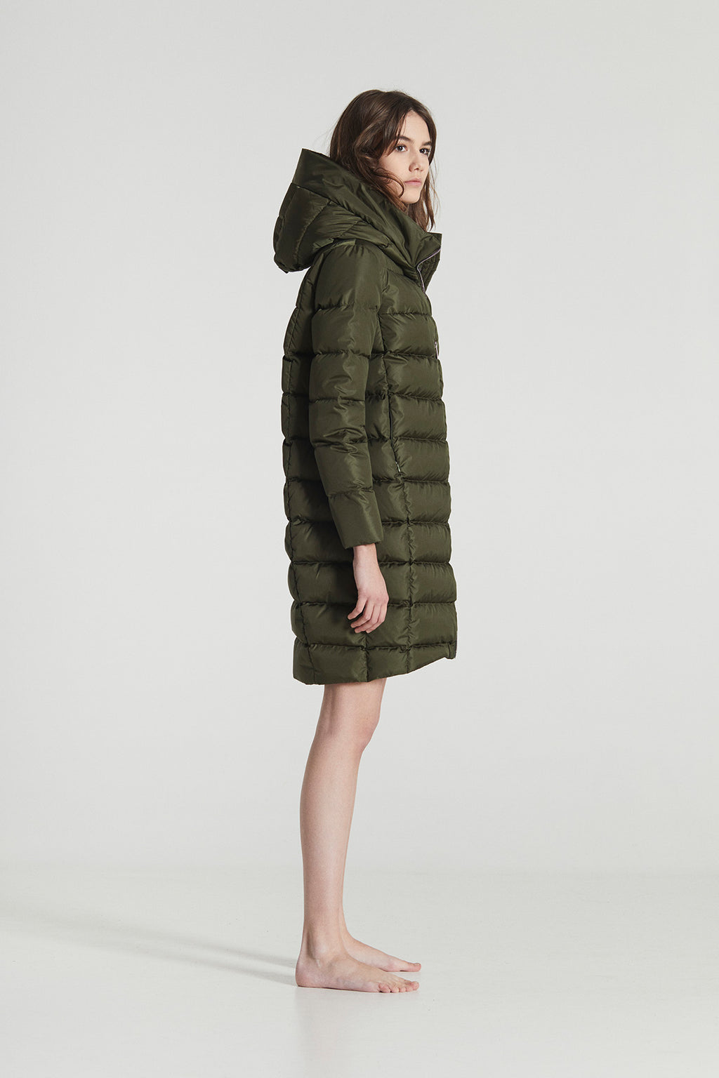 BERGLIN / Green Goose Down horizontal stitched Winter Jacket