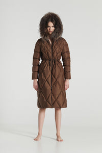 CECILIA MAXI / Gold Brown Goose Down diamond stitched Winter Coat