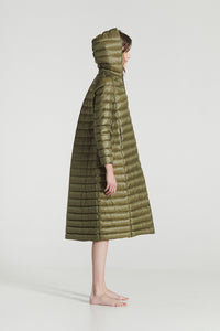 EMILY MAXI / Forest Green Goose Down horizontally stitched Superlight Coat