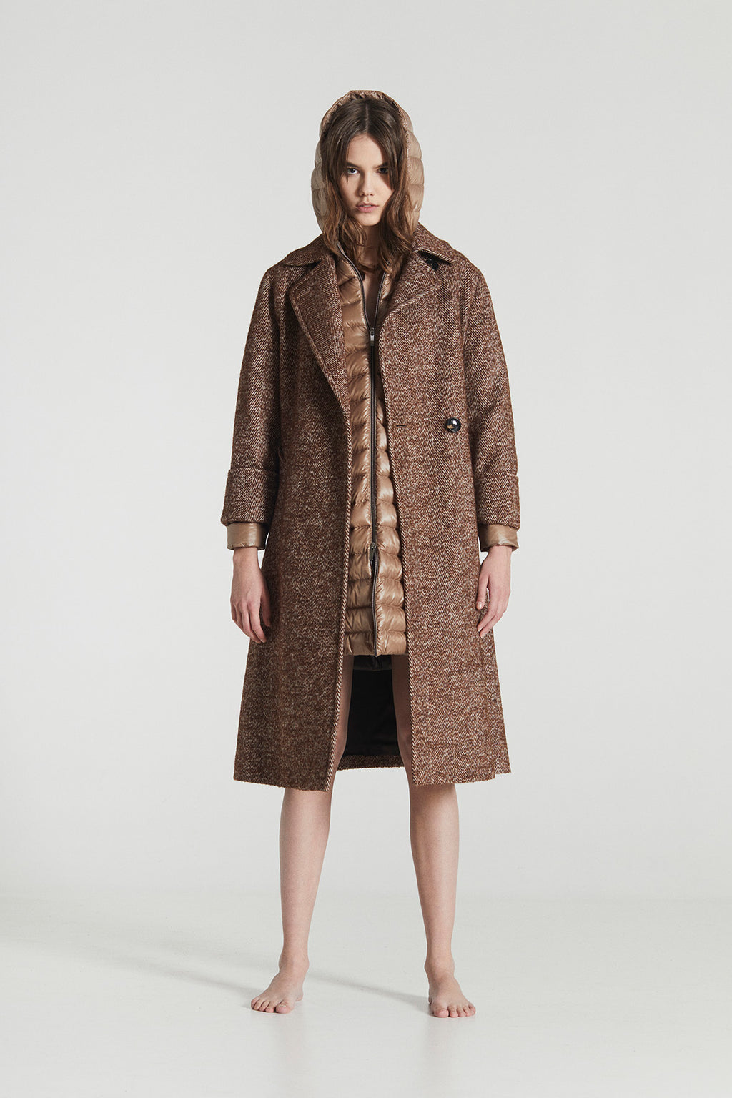 LUNA / Herringbone Tweed Wool Coat