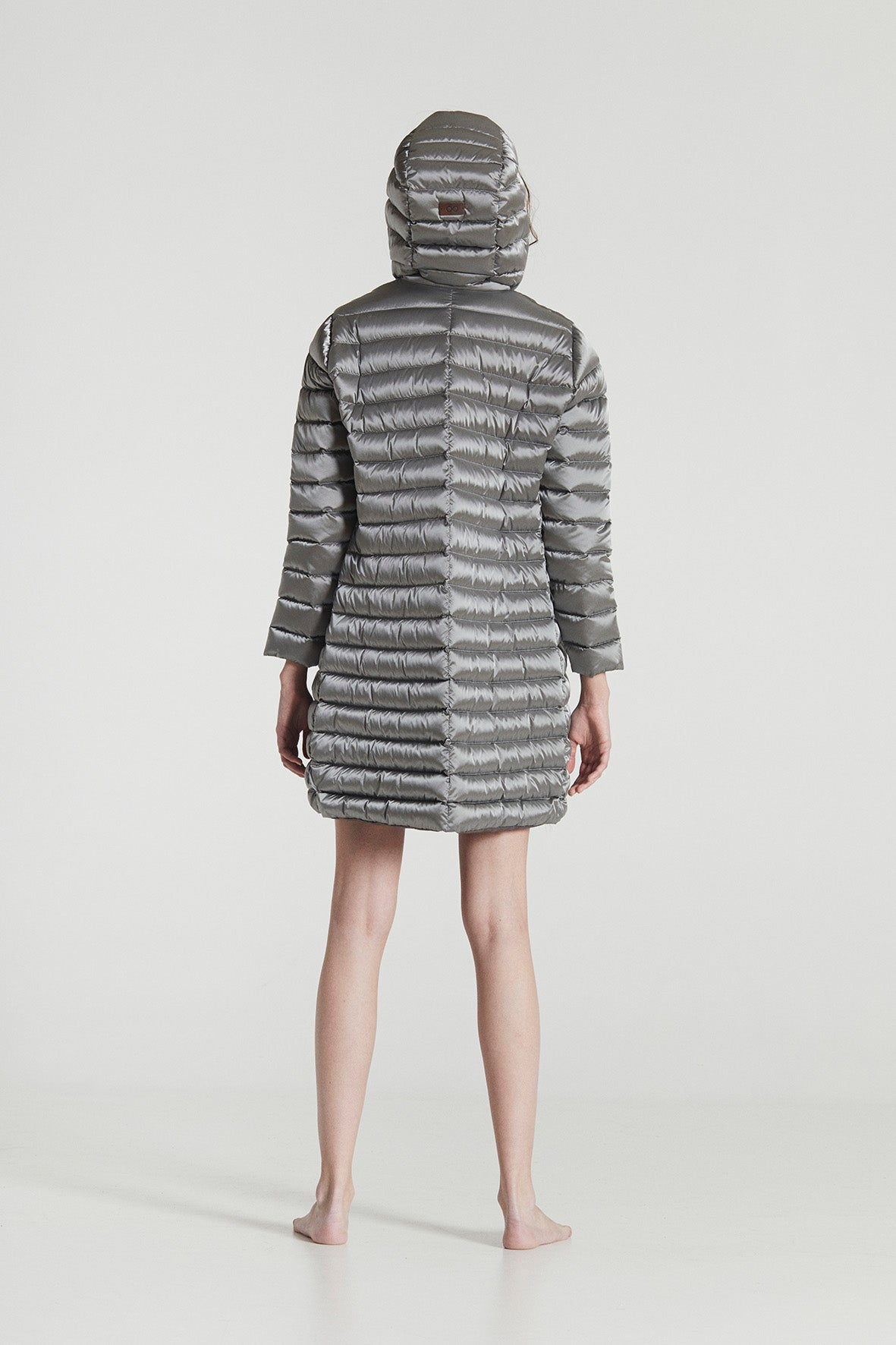 EMILY MIDI / Silver Grey Goose Down horizontally stitched Superlight Coat