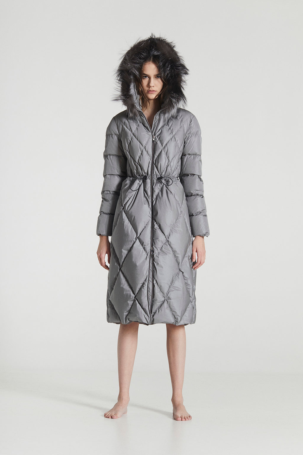 CECILIA MAXI / Silver Grey Goose Down diamond stitched Winter Coat