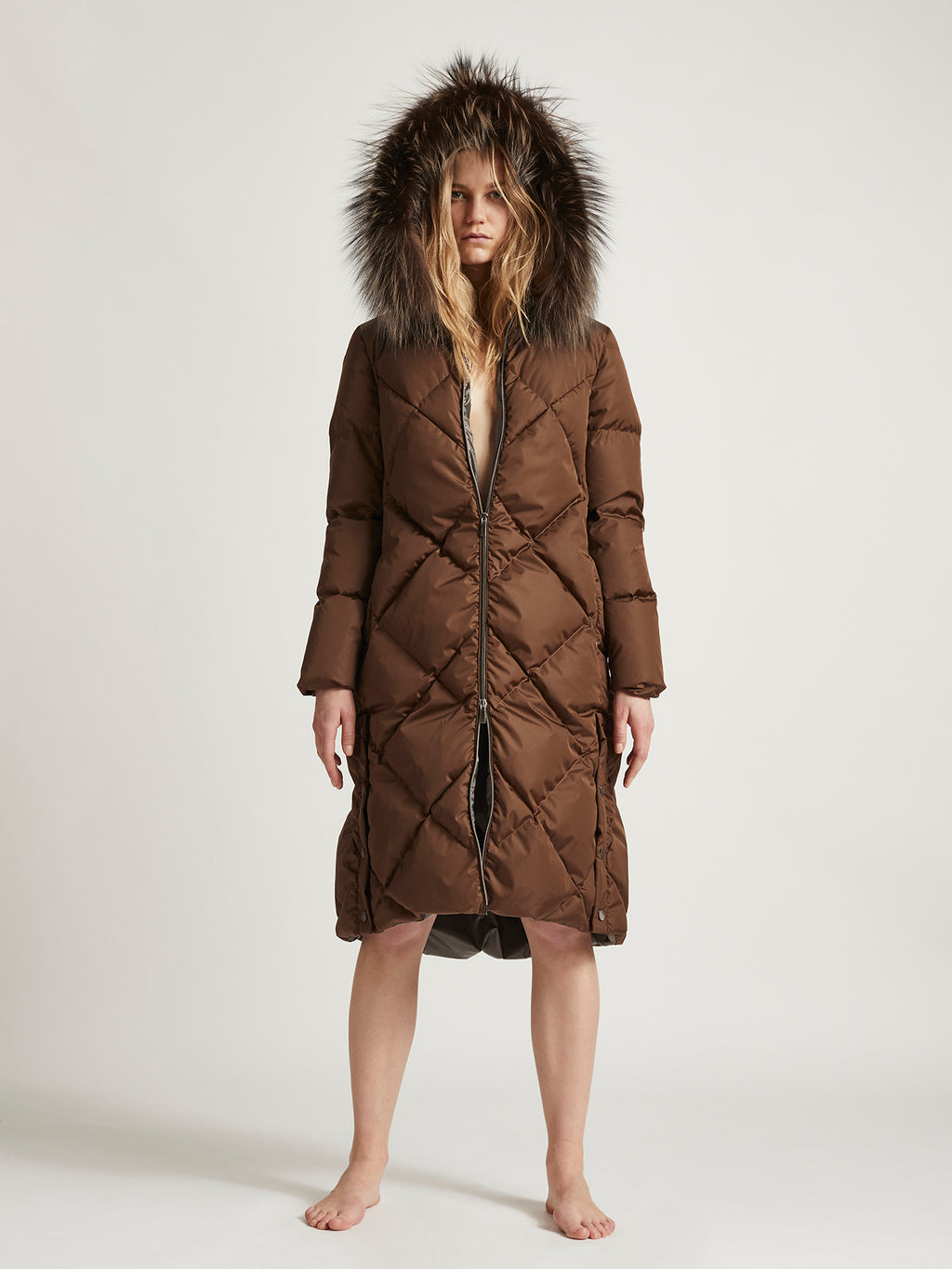 CARLA MAXI - Goose Down diamond stitched Winter Coat