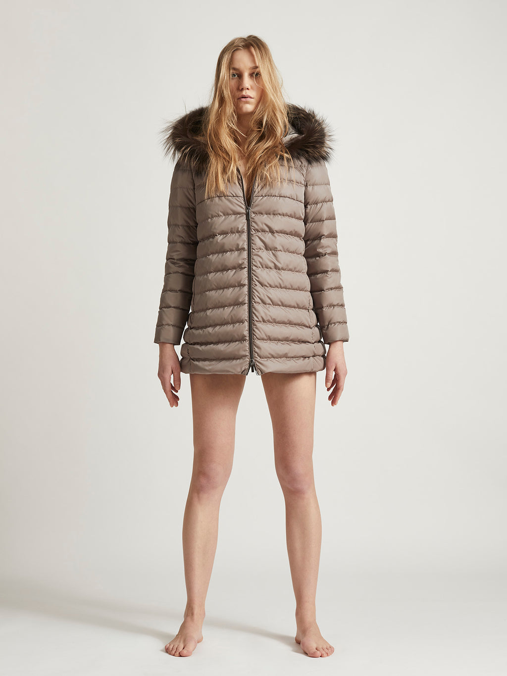 EMILY MINI FUR - Goose Down simple Late Autumn Jacket style with hood