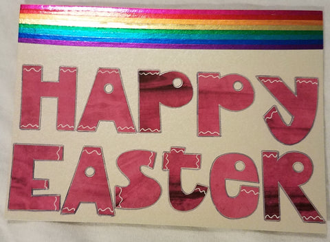 Metallic Rainbow and Pink Easter Card