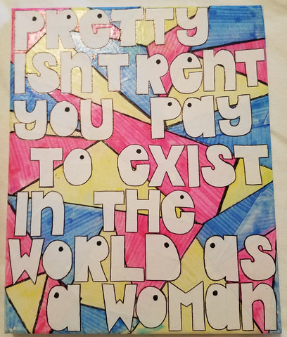 "Girl Power Collage on Canvas - ""Pretty Isn't Rent..."""