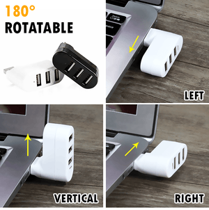 Rotatable 3-Port USB Hub