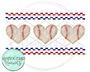 Baseball Hearts Faux Smocking