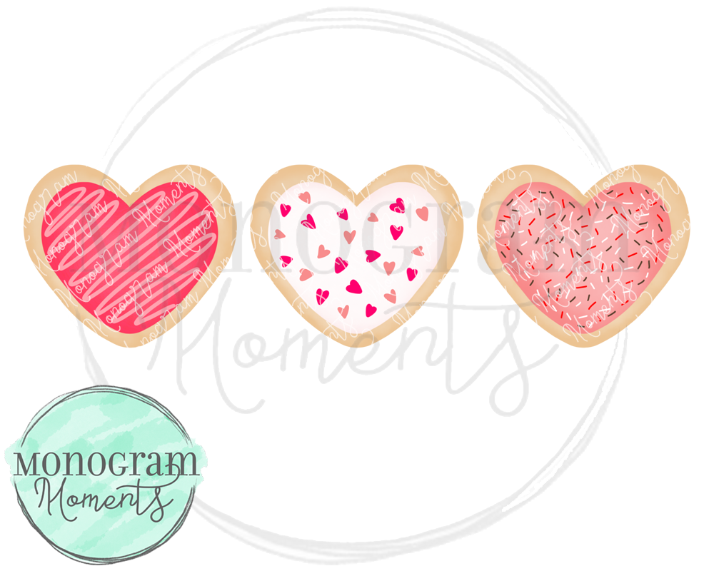 Girl's Valentine's Heart Cookies Trio