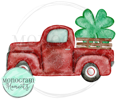 Red St. Patrick's Day Vintage Truck (Side)