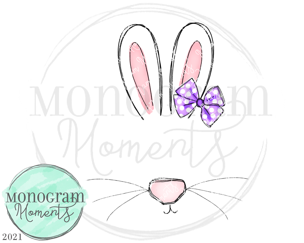 Girl's Bunny Face Sketch Monogram