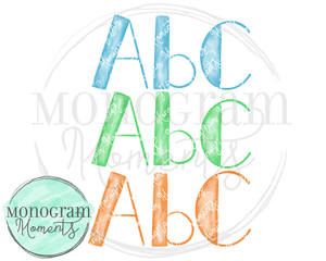 Boy's Watercolor Side-Block PNG Font
