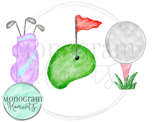 Girl's Golf Bag, Course, & Tee Trio